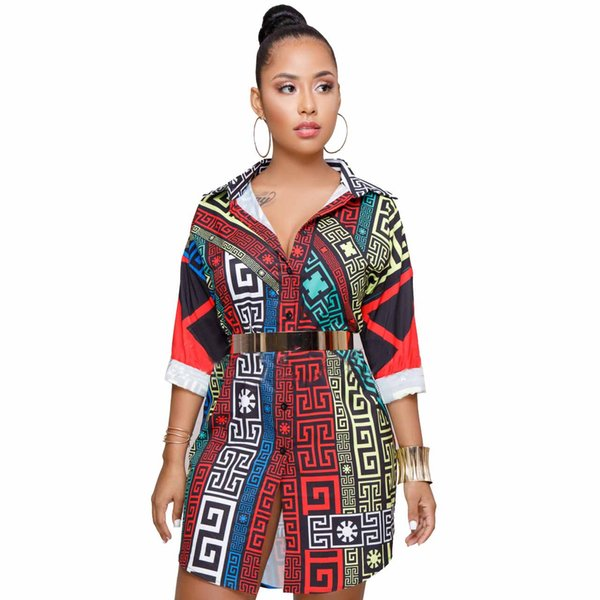 Femmes Designer Robe Robes D'impression De Mode Casual Caractère Lettre Modèle Chemise Sexy Motif Géométrique Plussize Vêtements pour 2019 Été