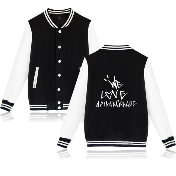 Chaquetas de diseñador para hombre AMAMOS Ariana Grande Imprimir Hombres Mujeres Chaqueta de béisbol de lujo Abrigos Hip Hop Streetwear Casual Sudaderas de manga larga