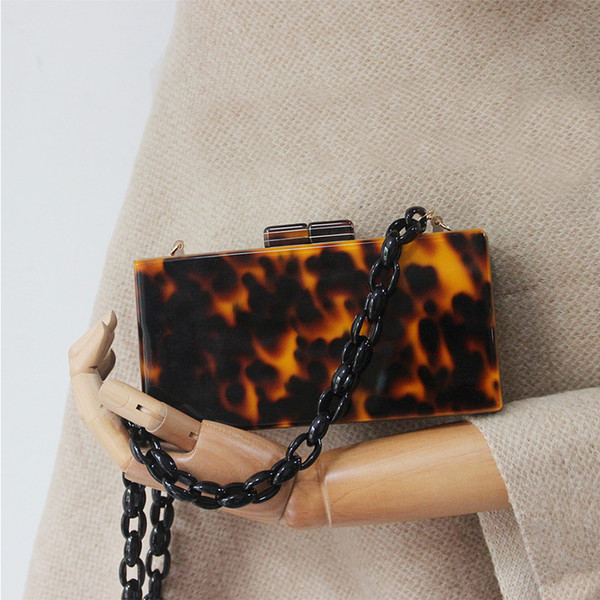 Amber Acrylic Chain Women's Bag Leopard Print Party Clutch Resin Chain Crossbody Bag Designer Handbags Leather