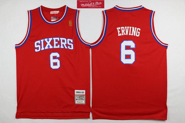J 6 Julius Erving Mens 1982-83 Otantik 76ers Swingman Forması Retro Mitchell Ness Sertağaçları Klasikleri HWC Swingman Basketbol Forması