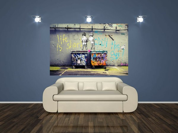 Handpainted rioil painting Banksy Graffiti Posters Life Is Short Chill Cuadros Painting HD Prints,Home Decor Mulit sizes customized TY1010.5