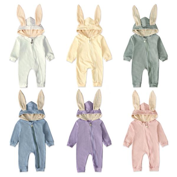 Розничная Baby Rompers мальчики девочки с длинным рукавом кроличьи уши комбинезон с капюшоном цельные комбинезоны onesies малышей детские дизайнерские одежды