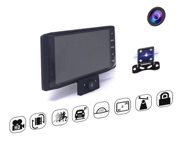 Videoregistratore DVR per auto 4 pollici Streaming Media Specchietto retrovisore Specchio per auto DVR Dash Telecamera Tre lenti HD inversione di visione notturna