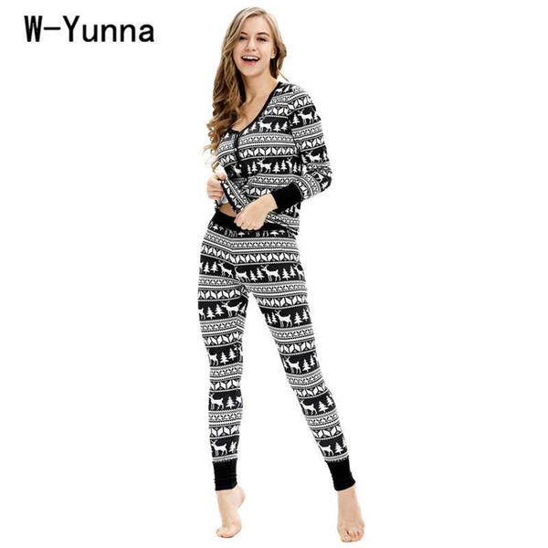 W-Yunna Женская Рождественская Пижама Спандекс Устанавливает Осень Пижамы Средней Толщины Пижамы С Длинным Рукавом Пижамы Roupa De Noite Das Mulheres