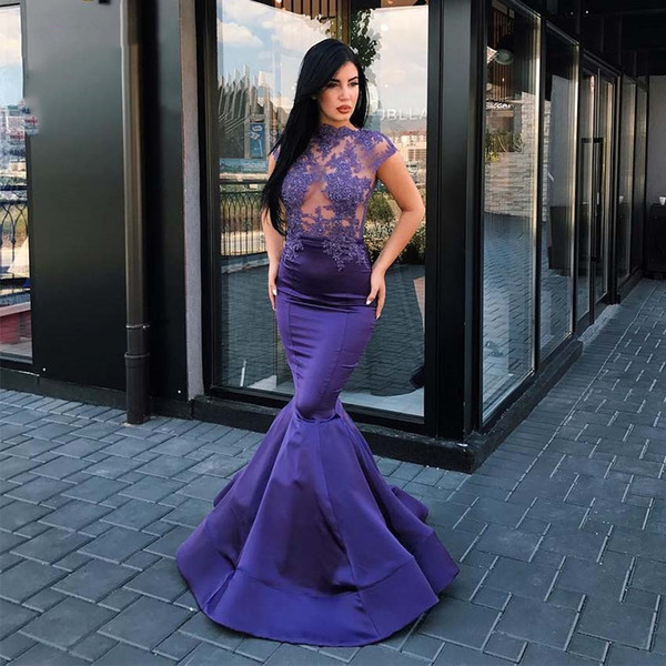 Purple Prom Dresses 2019 Mermaid High-Neck Short Sleeve Evening Gowns Sheer Bead Lace Cocktail Party Ball Dress Celebrity Formal Gown