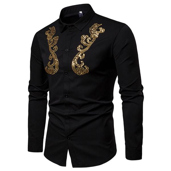 Новая мода Мужские рубашки Динамический поворот воротник рубашки с длинным рукавом Сундук Golden Lace украшение джентльменов