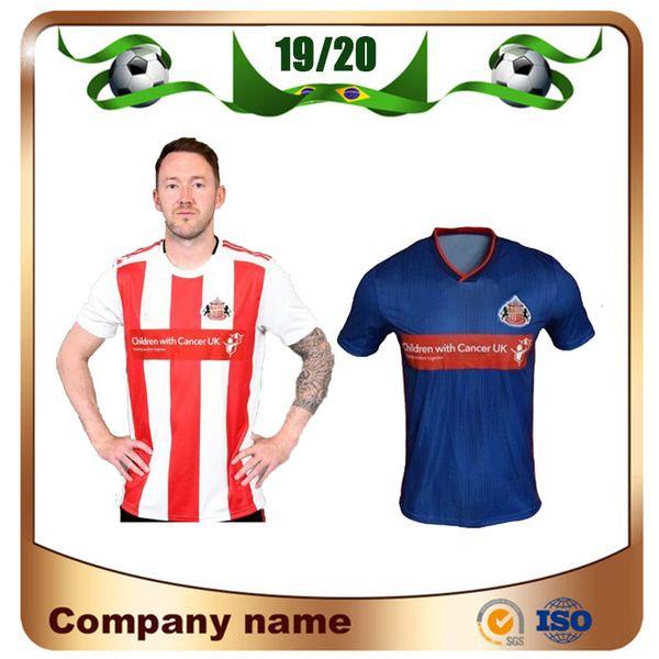 19/20 Sunderland İç Saha Futbol Forması 19/20 Sunderland Deplasman Mavi # 9 BORINI # 11GRABBAN Futbol forması # 12 MIKA # 18 DEFOE Futbol Forması