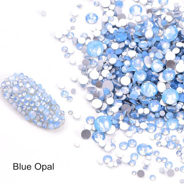 Nail Art Strass Dekorationen Blue Opal 6 8 SS10 SS12 Flatback Glas Strass Non HotFix Strass für DIY Nägel Design 3D Nail