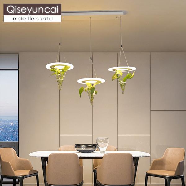 Großhandel Qiseyuncai Nordic Modernes Minimalistisches Restaurant Drei Kopf  Kronleuchter Kreative Topf Wohnzimmer Hause Led Lampen Kostenloser Versand  ...