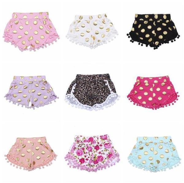 top popular Kids Shorts Baby Girls Dot Pompon Shorts Dance Party Zebra Leopard Print Shorts Summer Tassel Fringe Pants Fashion Boutique Trousers C267 2020