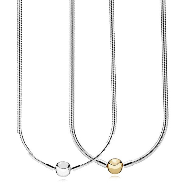 New 925 Sterling Silver Necklace Moments Lobster Ball Clasp Smooth Snake Chain Necklace For Women Wedding Gift Europe Jewelry C18122501