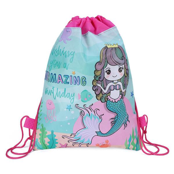 Unicornio Mermaid Drawstring Mochila Kids Cartoon Drawstring Bags Deportes Mochila de hombro Bolsa de almacenamiento al aire libre Bolsas de viaje al por mayor A342