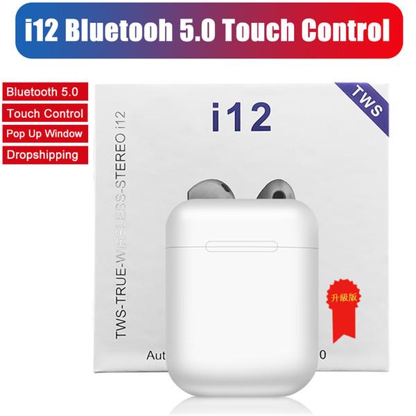 Auricolari wireless i12 TWS Touch Cuffie Bluetooth V5.0 doppie per auricolari stereo auricolari wireless con controllo touch SIRI