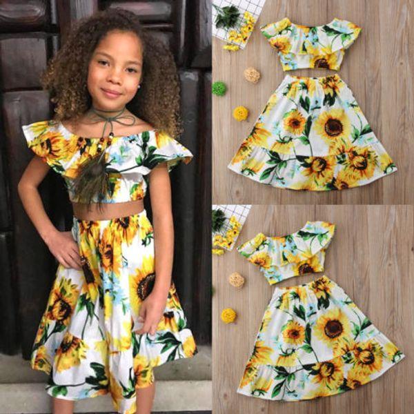 Verano floral fuera del hombro Crop Tops falda de algodón trajes casuales ropa de niña lindo 2-7T niños pequeños bebés niñas ropa conjunto