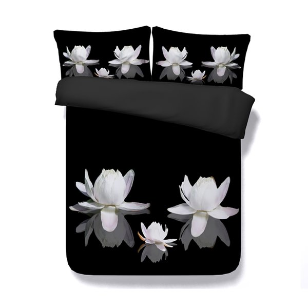 Lotus Floral Duvet Cover 3 Piece Girls Bedding Set With 2 Pillow Shams Flowers Bed Cover 3D Bedspread Asian Design White Pink Black coverlet