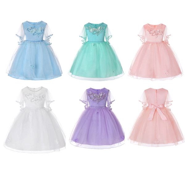 5 Colors Summer Girl Clothes Kids Dresses For Girls Lace Flower Dress Baby Girl Party Wedding Dress Children Girl Princess Tutu Dress 2019