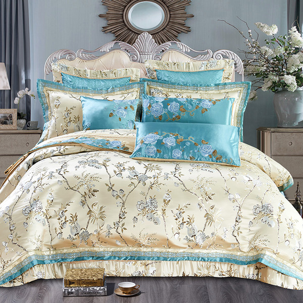 Europe style Flower Satin Jacquard Luxury Wedding Bedding set Queen King size Duvet cover Cotton bed spread sheet set pillow