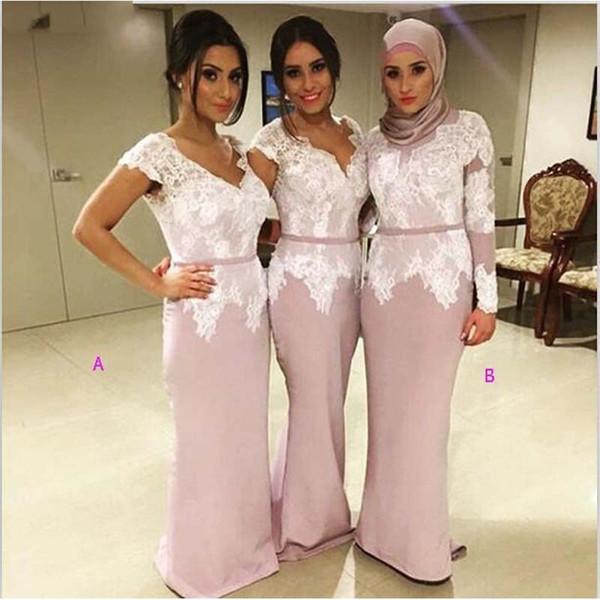 Arabo sirena lunga Abiti da sposa 2020 Lace Appliques scollo a V con maniche Invitato a un matrimonio abito Plus Size Prom cameriera d'onore abiti AL3966