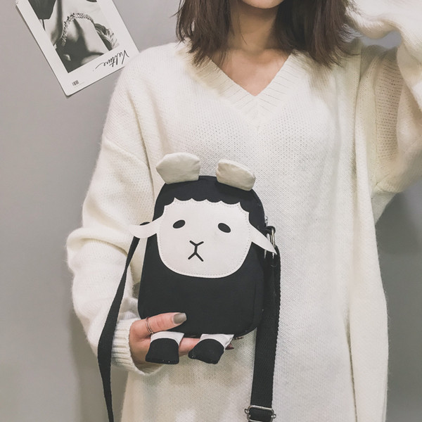 Cute Cartoon Fashion Canvas Bags Sheep Cross Body Bag Messenger Bag For Girls