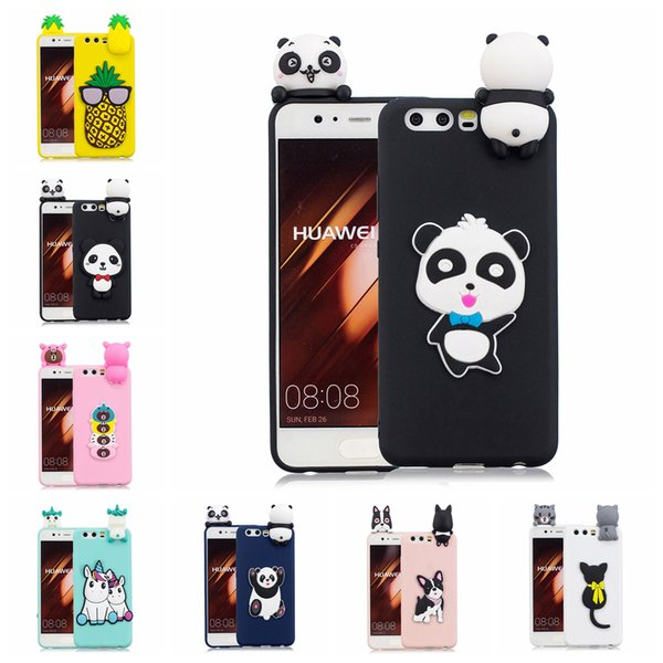 Pasted 3D Funny Animal Case for Huawei P10 TPU Cover Sticking a Little Silicon Panda Doll 61 Models Option