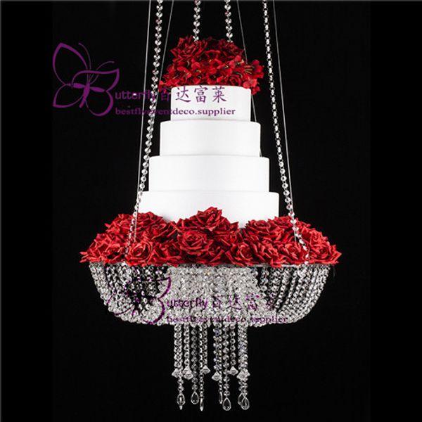 18 polegada Estilo Lustre de Cristal Drape Suspenso Swing bolo stand rodada bolo pendurado carrinhos peça central do casamento
