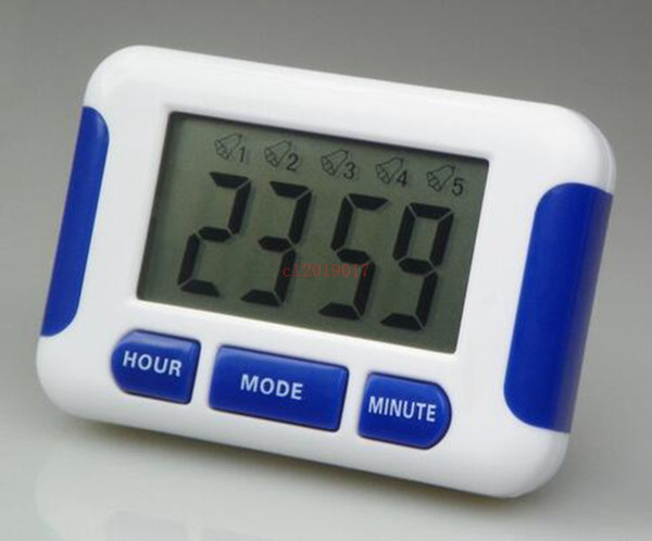 50pcs/lot Free DHL Alarm Clock 5 Groups Noisy Bell 12/24 Hours Countdown Multi Kitchen Home House Lab