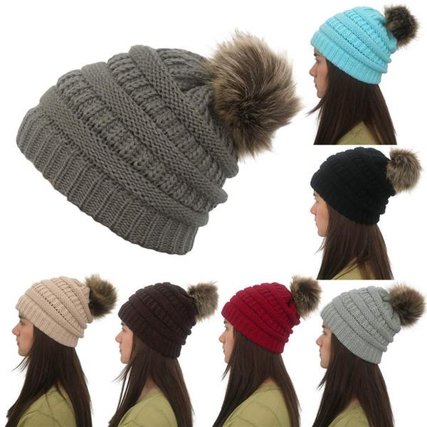 Letra de la manera de algodón de punto pompones sombrero para mujeres de las muchachas del sombrero del invierno Mujer Gorros gorras deportivas al aire libre Sombreros