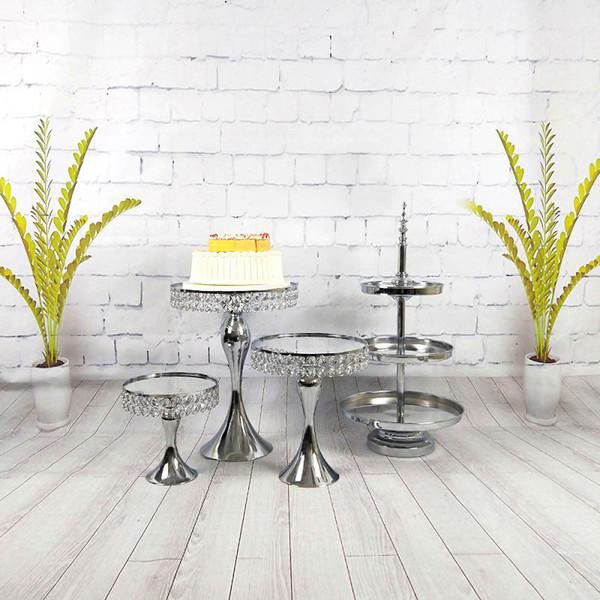4pcs/set Wedding 3 Tiered Crystal Tier Three Cupcake Set Display Mirror Luxury Silver Cake Stand