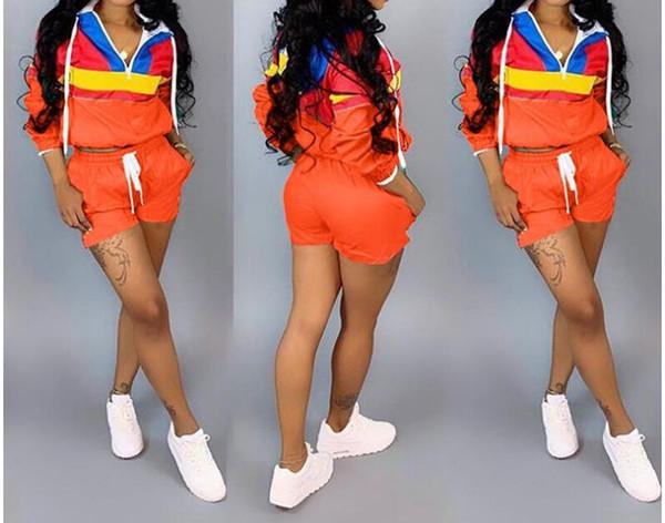 Dikiş kadın giyim Uzun kollu Kapüşonlu kap Kollu kafa Ceket şort eşofman 2 parça tasarımcı eşofman spor kadın giyim