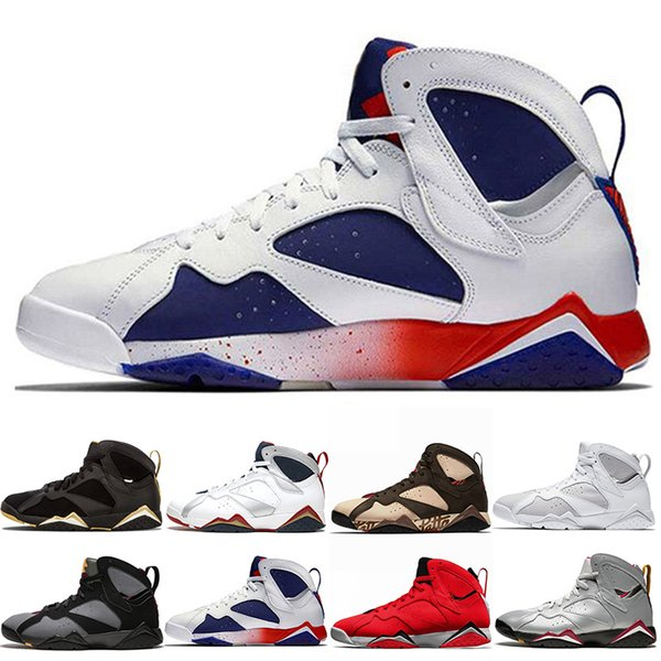 7 7s Reflections of A Champion Ray Allen Tinker Alternate Olympic Outdoor Men Basketball Shoes French Blue Barcelona Nights Sneaker