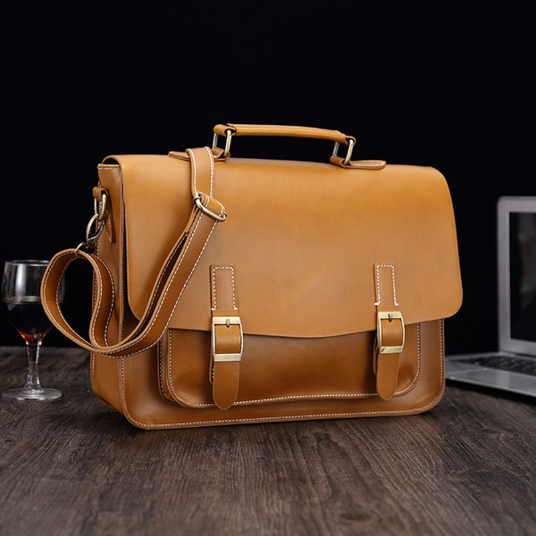 top popular Men's Genuine Cowhide Leather Handbag Briefcases Laptop Crossbody Shoulder Bag Luxury Satchel Messenger Business Bags For Men Brown 2020