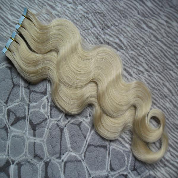 nastro dell'onda del corpo in estensioni dei capelli umani 40 pc capelli vergini dell'onda brasiliana PU nastro di trama della pelle su / in estensioni dei capelli remy # 60 Biondo platino