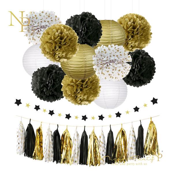 Nicro 28 pçs / lote Decoração Do Partido Slingers De Ouro Flor De Papel Tissue Lanterna Borla Garland Aniversário Graduação Epifania # Set18