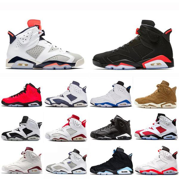 2019 6s og Black Инфракрасный код: 384664-060 мужские баскетбольные кроссовки с коробкой 6s кроссовки, роскошные мужские женские дизайнерские сандалии