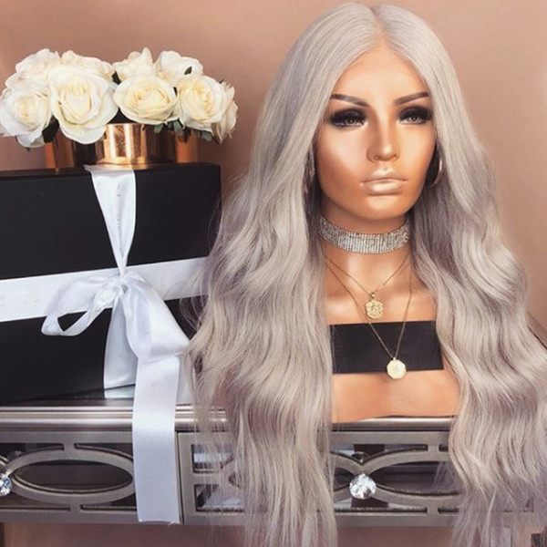 Hand Tied 360 lace frontal Silver Grey color wig 180 Density Heat Resistant water wave Synthetic Lace Front Wigs for women natural hairline