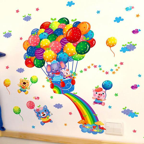 Diseño de moda de alta calidad extraíble globo colorido volando dibujos animados arte pared pegatinas hogar habitación calcomanía bebé decoración 53 cm x 63 cm