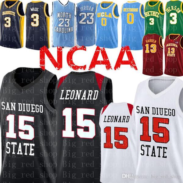 Kawhi # Leonard Jersey Red McGrady San Diego State Aztecs College Basketball Jerseys cosidos Logos Envío gratis