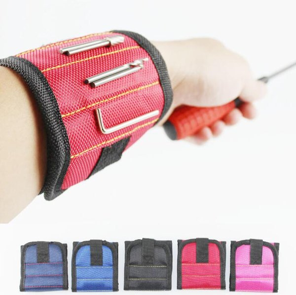Magnetic Wristband With 2 Powerful Magnets Holding Screws Nails Bolts Drill Fasteners Scissors Screw Bag LJJO7003-1