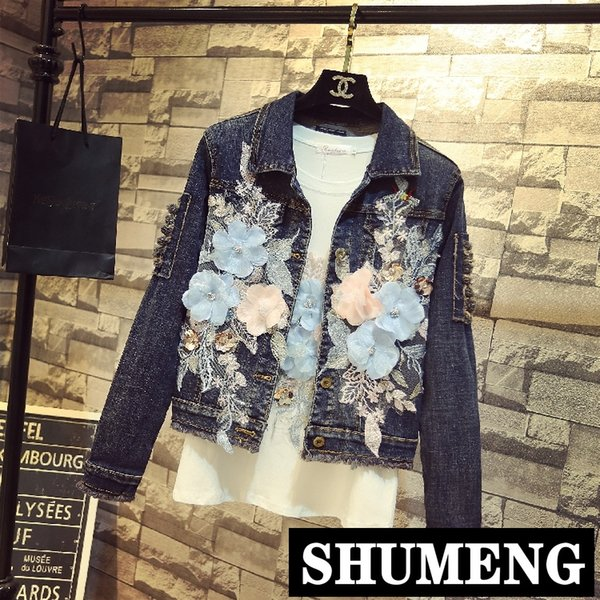 2019 Primavera Otoño Mujeres Moda coreana Abrigos de mezclilla Agujeros Azul Bordado de la flor Pantalones vaqueros de manga larga Abrigo Estudiantes Chaquetas de vaquero