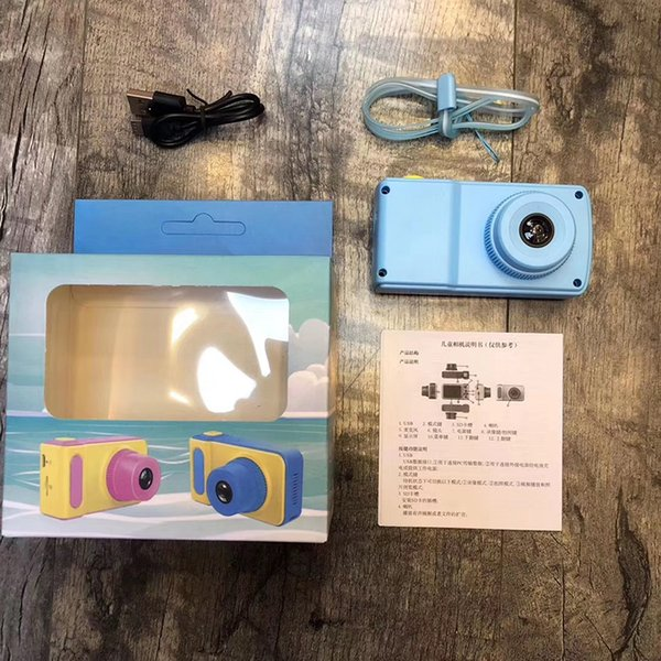 New C5 Children Camera Mini Digital Kids Camera Cute Cartoon Camera Toddler Toy Children Birthday Gift 2Inch Screen Cam with package box