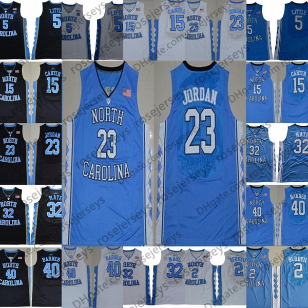 NCAA North Carolina Tar Heels #23 Michael 5 Nassir Little 15 Carter 32 Luke Maye Barnes Vince 2019 UNC blue Black White Jerseys