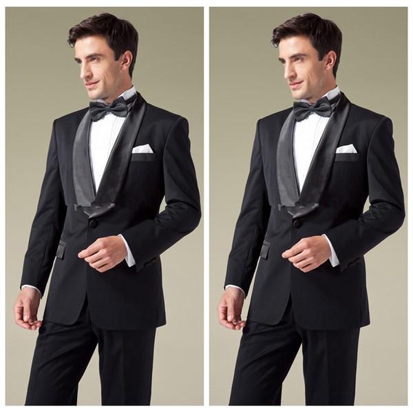 2019 Vintage Preto 2 Peças Jaqueta + Calças Do Noivo Casamento Smoking Mens Formal Wear Barato Xale Lapela Dos Homens Terno Personalizado (Jacket + Calças)