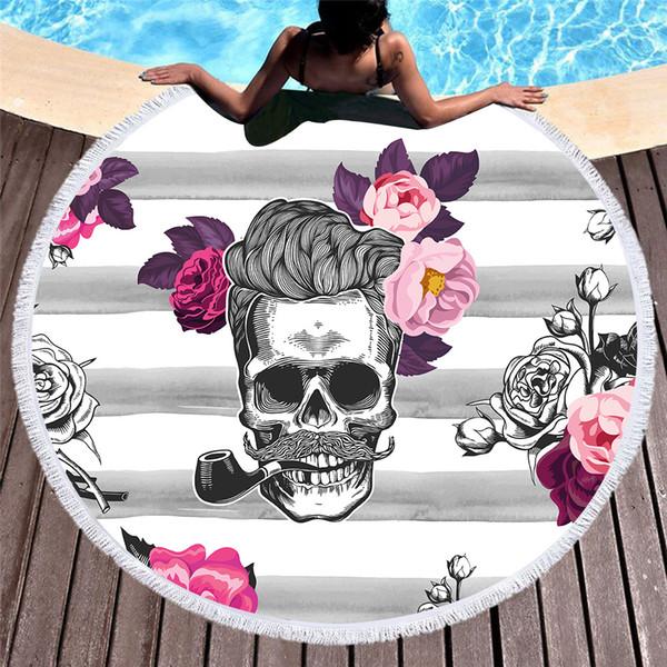 1 Stücke Große Mikrofaser Runde Strandtuch Schädel Mann Rose Blume Dicke Frottee Stranddecke Decke Serviette De Plage