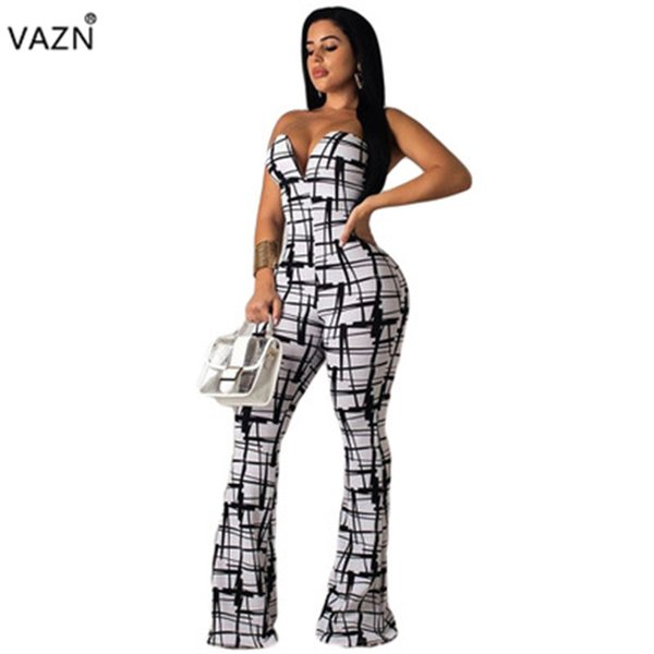 VAZN 2019 verano sexy lady white plaid mono largo dama sin tirantes con cuello en V pantalones flare sexy club nuevo mameluco ML7206