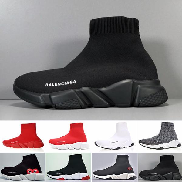 2019 Yeni Tasarımcı Sneakers Hız Koşucu Moda Ayakkabı Çorap Üçlü Siyah Çizmeler Kırmızı Düz Trainer Erkekler Kadınlar Rahat Ayakkab ...