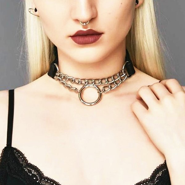 Black Harajuku Punk Choker Necklace Goth Silver Color Chain Leather Choker Gothic Collar Women Girls Dark Jewelry