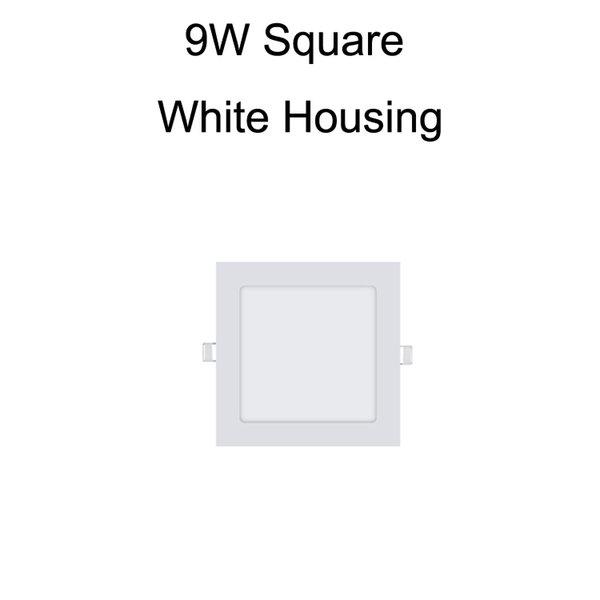 9W Square White Housing
