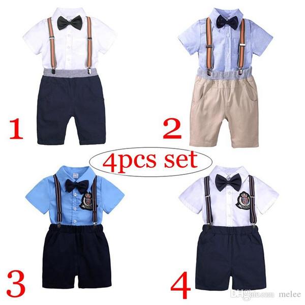 4 stilleri Yeni ins yaz boys 4 adet set boys beyaz pamuk tshirt tops bebek siyah yay bebek siyah pp şort pantolon çocuklar askı 0-7years
