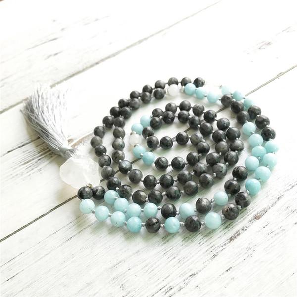 Labradorite naturelle 108 Mala Perle Colliers méditation Mala Collier Yoga Bijoux Tassel Collier de prière Noué à la main