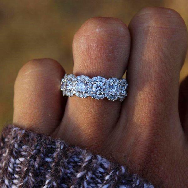 Branco banhado a ouro cubic zirconia anéis de diamante em torno de anéis de anéis de jóias de moda romântico presente de casamento para o amante do sexo feminino